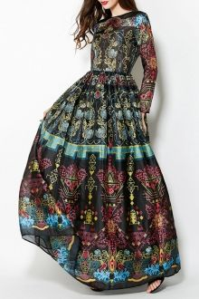 Colorful Vintage Print Maxi Voile Dress I NEED this dress in my closet like a fish needs water