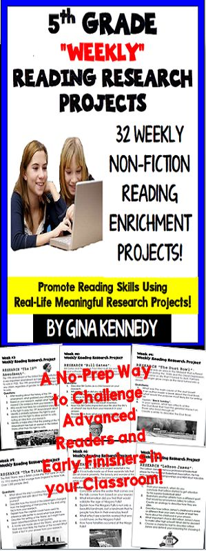 5th Grade Reading Enrichment Research Projects for the Entire Year! Thirty-two weekly reading enrichment projects in which students research topics and then answer the follow-up questions. The questions, not only check for comprehension of the topic researched, but review common reading text structures such as author's purpose, tone, mood, theme, compare/contrast, plot, cause and effect and more. Aligned to most 5th grade reading curriculum including STAAR/CCSS. Great for early finishers.$