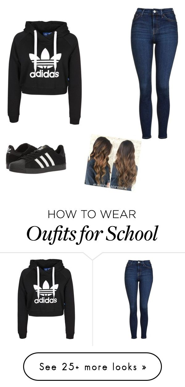 """School outfit "" by ithhhhhhu on Polyvore featuring Topshop and adidas"