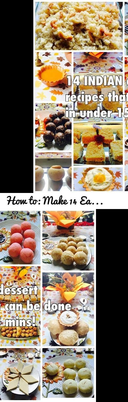 How to: Make 14 Easy Indian Dessert Recipes under 15 mins Tutorial... Tags: food, dessert, indian, recipe, easy, under 15 mins, quick, navratri, naivedya, prasad, garba, devi, mata, bhog, microwave recipes, microwave, halwa, kheer, puri, modak, karanji, walnut, laddu, laddoo, laddo, dates, date laddoo, pedha, strawberry, sheera, prasadacha sheera, besan laddoo, mango, mango rass, mango kalakand, kalakand, kaju katli, cashew barfi, fudge, indian fudge, coconut, coconut laddoo, firni, eid…