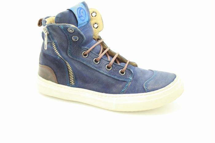 Hoog veterschoen van het merk Rondinella met een rits, Blauw leer.