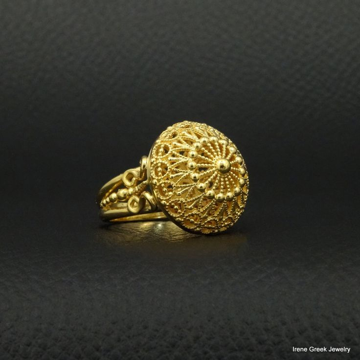 Medieval Filigree Ring 925 Sterling Silver 22K Gold Plated Greek Handmade Art Rare Luxury by IreneGreekJewellery on Etsy https://www.etsy.com/listing/265174451/medieval-filigree-ring-925-sterling