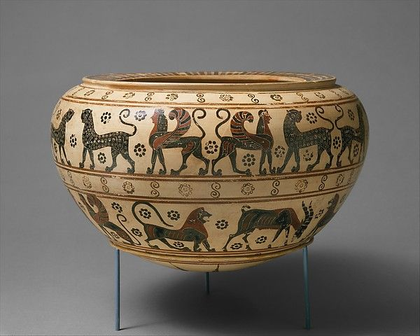 Greece - Terracotta dinos (mixing bowl) from Corinth, ca. 630-615 BC. Attributed to the Polyteleia Painter. Located in The Metropolitan Museum of Art, New York. Learn more: http://www.metmuseum.org/collection/the-collection-online/search/256846