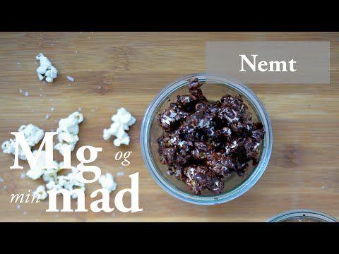 Popcorn med chokolade og peanut butter - se opskrift