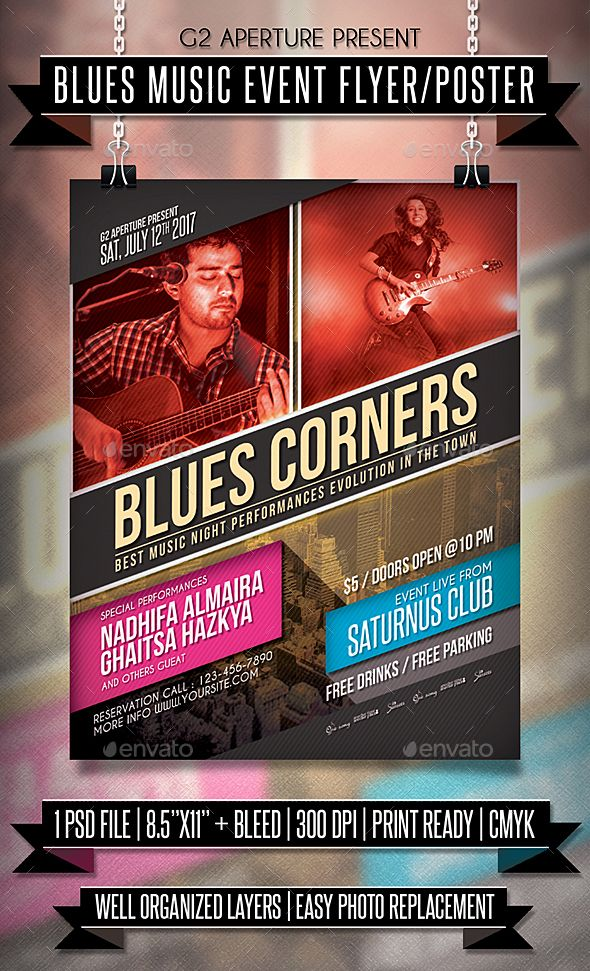 Blues #Music Event #Flyer / Poster - Events Flyers Download here: https://graphicriver.net/item/blues-music-event-flyer-poster/19713622?ref=alena994