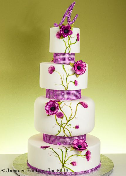 4 tier, pink/purple wedding cake, hand painted and sugar flowers