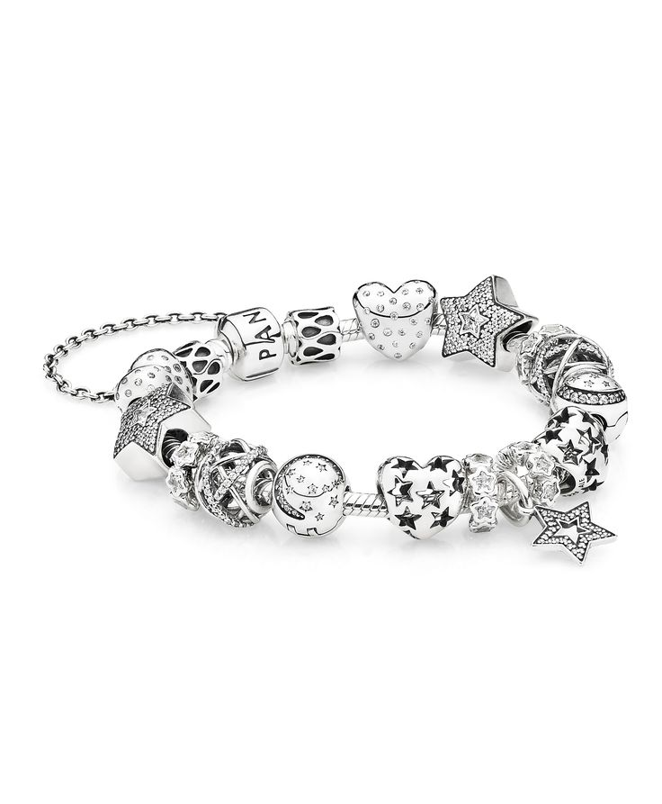 Twinkle like the stars! Fill up your arm with sparkling star designs for a captivating look. #PANDORA #PANDORAbracelet