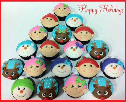 Christmas cupcake set - by hotmamascakes @ CakesDecor.com - cake decorating website