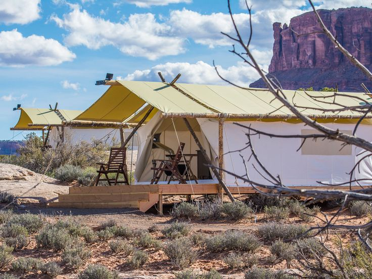 "Moab, UtahFor a while there, it seemed like ""glamping"" was having a moment, but now it appears that the concept is here to stay—at least that's what Moab Under Canvas believes, as it unveiled an entire glamping (luxury camping)  resort nestled by both Arches National Park and Canyonlands National Park in Utah earlier this year. Its tents really are more like very thinly walled hotel rooms, with direct access to the most impressive night sky you'll ever see."