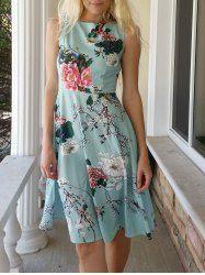 Jewel Neck manches Floral Vintage Imprimer ceinturé A-ligne vestimentaire pour les femmes