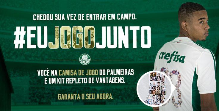 Jogue junto com Palmeiras e tenha sua foto estampada nas camisas dos jogadores...