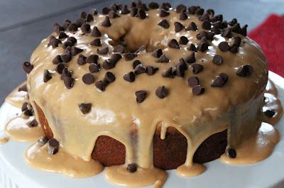Peanut Butter Chocolate Chip Pound Cake with Peanut Butter Glaze - recipe included