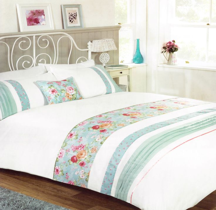 Delightful Embellished Vintage Floral Bands On Crisp White Duvet Set Double Bed in Home, Furniture & DIY, Bedding, Bed Linens & Sets | eBay #bed #bedding #duvet #blue #vintage #vintagestyle #floral #flowers #boho #bohemian #roses #stripes #contemporary #chic #feminine #stylish #thatsdarling #bedroom #style #decor #modern #cosy #relax #relaxing #doubleduvet #home #linen #homedecor #homestyle #interior #design #HarvardMills #LordOfTheLinens