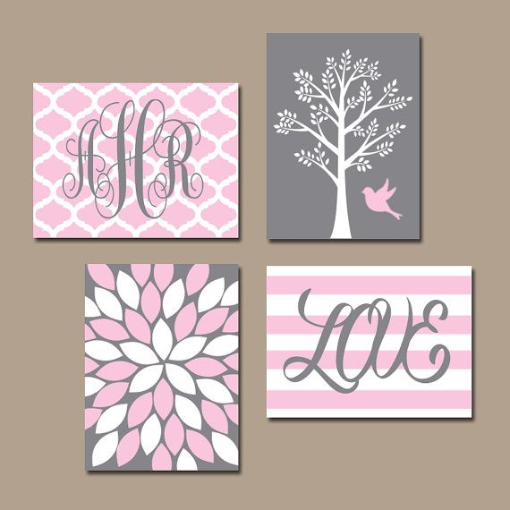 PINK GRAY Nursery Wall Art CANVAS or Prints Monogram by TRMdesign