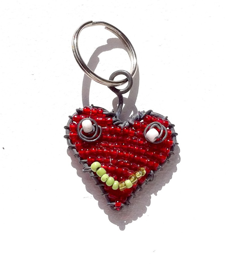Hand-Crafted Smiling Heart Beaded Wire Key Chains