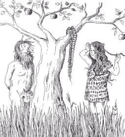 Második bűnbeesés (Szűcs Édua karikatúrája)
