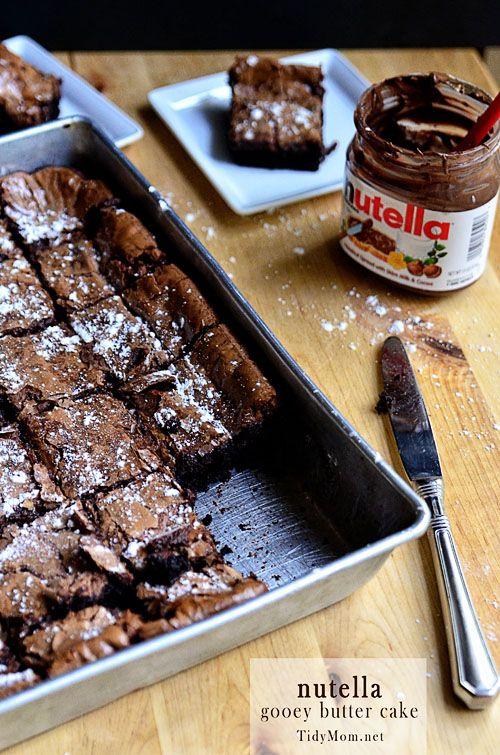 Nutella Gooey Butter Cake #recipe at TidyMom.net