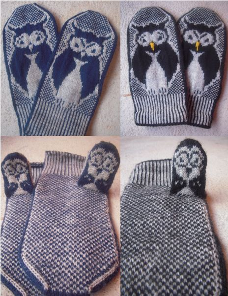 Moody owl mittens + pattern #owls