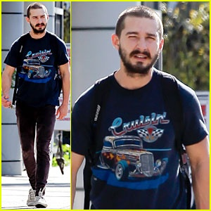 """Shia LaBeouf dons a """"Cruisin"""" t-shirt while walking to the gym on Tuesday (December 18) in Hollywood."""