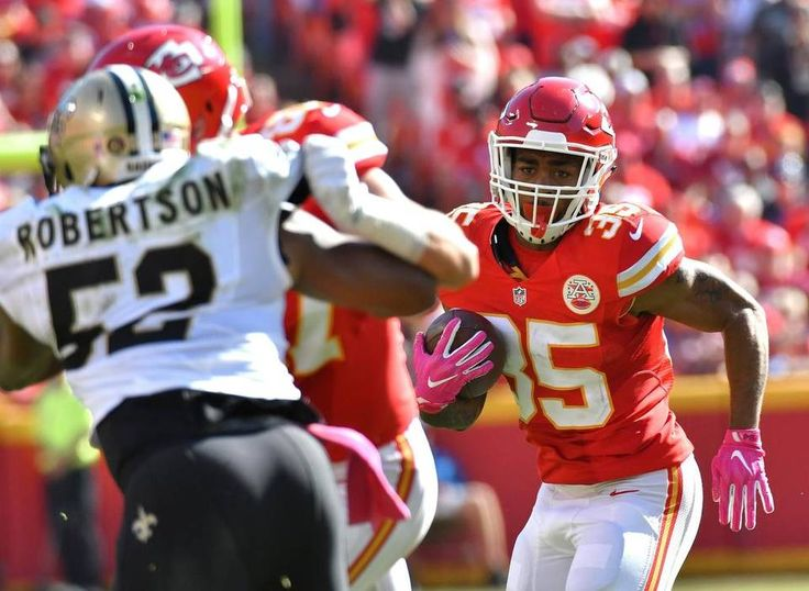 Saints vs. Chiefs  -  27-21, Chiefs  -  October 23, 2016:    Kansas City Chiefs running back Charcandrick West looks for an opening in the third quarter during Sunday's football game against the New Orleans Saints on October 23, 2016 at Arrowhead Stadium in Kansas City, Mo.