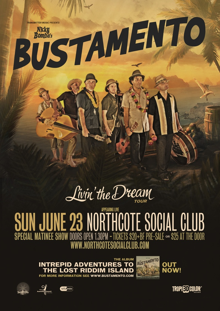 Nicky Bomba's Bustamento will play a matinee show at the Northcote Social Club this Sunday! Infoand tickets here: https://corner.ticketscout.com.au/gigs/1399-bustamento