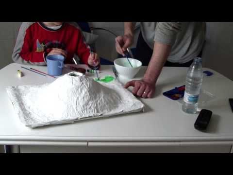 How to make a volcano -the improved no mache or plaster way - YouTube