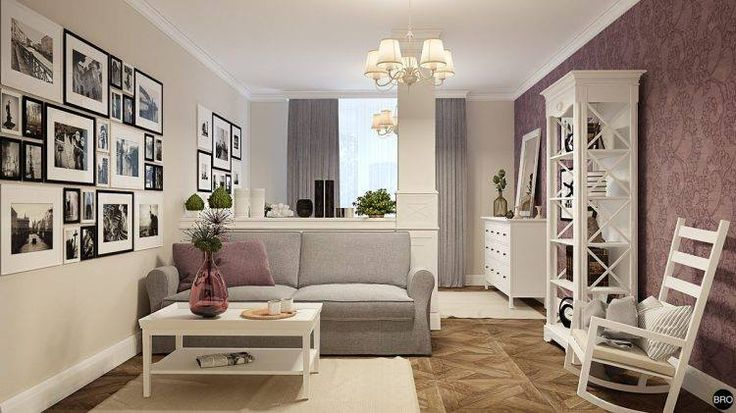 Любопытный пример того, как можно разделить комнату на гостиную и спальню с помощью легкой невысокой перегородки и декоративной колонны. Интерьер квартиры, выполненый дизайн студией brodesign в лучших традициях стиля Прованс:...