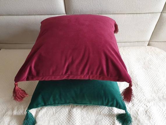 Tassels Wine Red Velvet Pillow