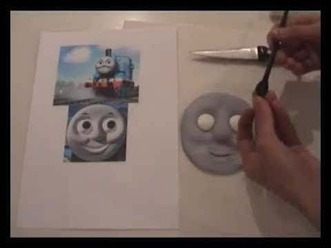 how to make a fondant thomas the tank engine cake face ann reardon howtocookthat.net - YouTube
