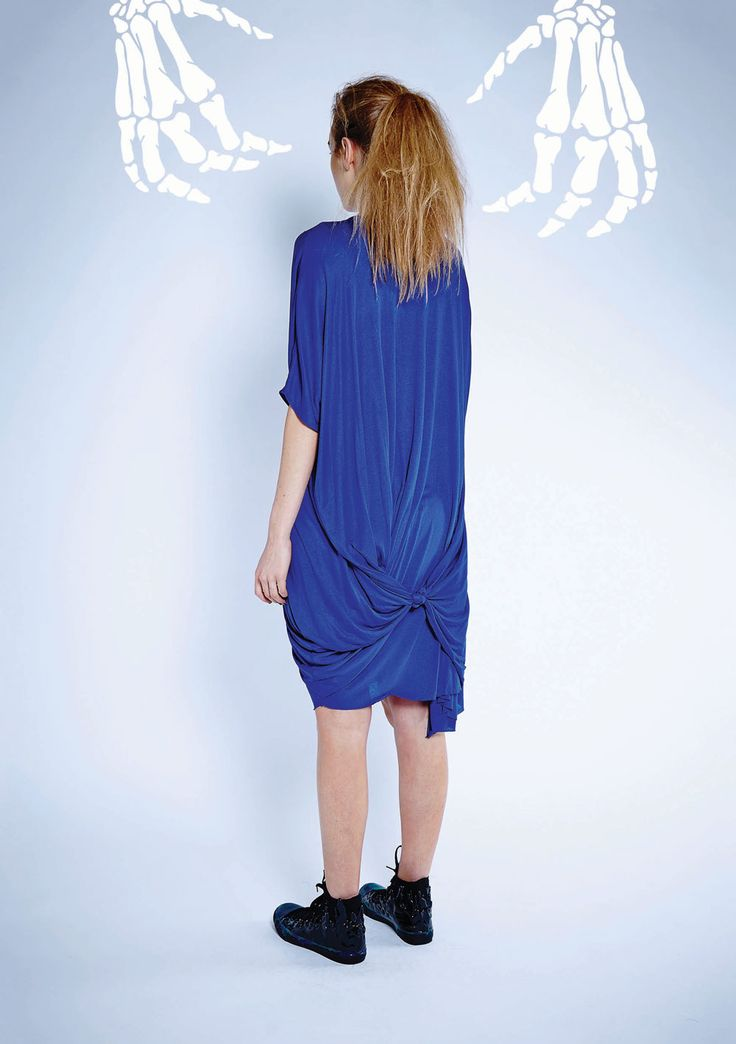Maaike Clothing | New Zealand Object Dress - Knit in Electric Blue Back View