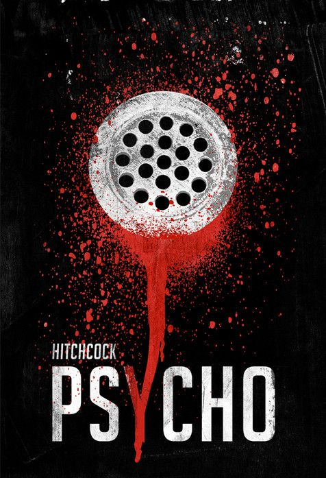 Minimalist Movie Poster:  Psycho (1960) Alfred Hitchcock starring Anthony Perkins