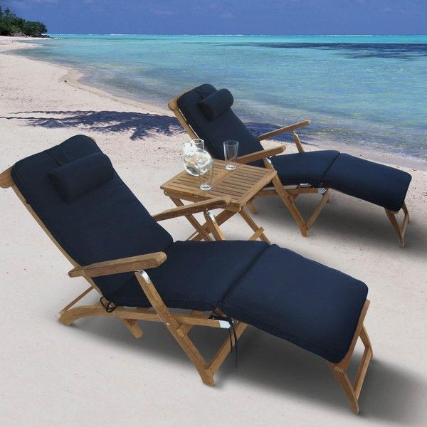 Outdoor Royal Teak Steamer Chaise Lounge Set Off White
