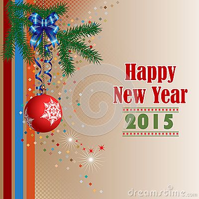 Background with Happy New Year text, Christmas tree branch and Christmas ball ornament