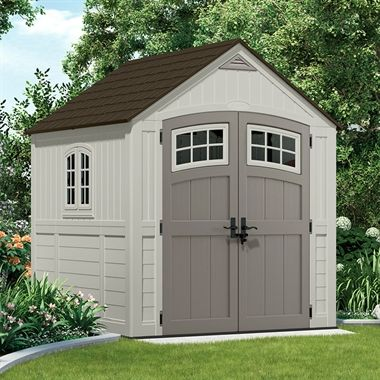 the suncast plastic storage sheds are an attractive storage solution if you dont want a boring green shed