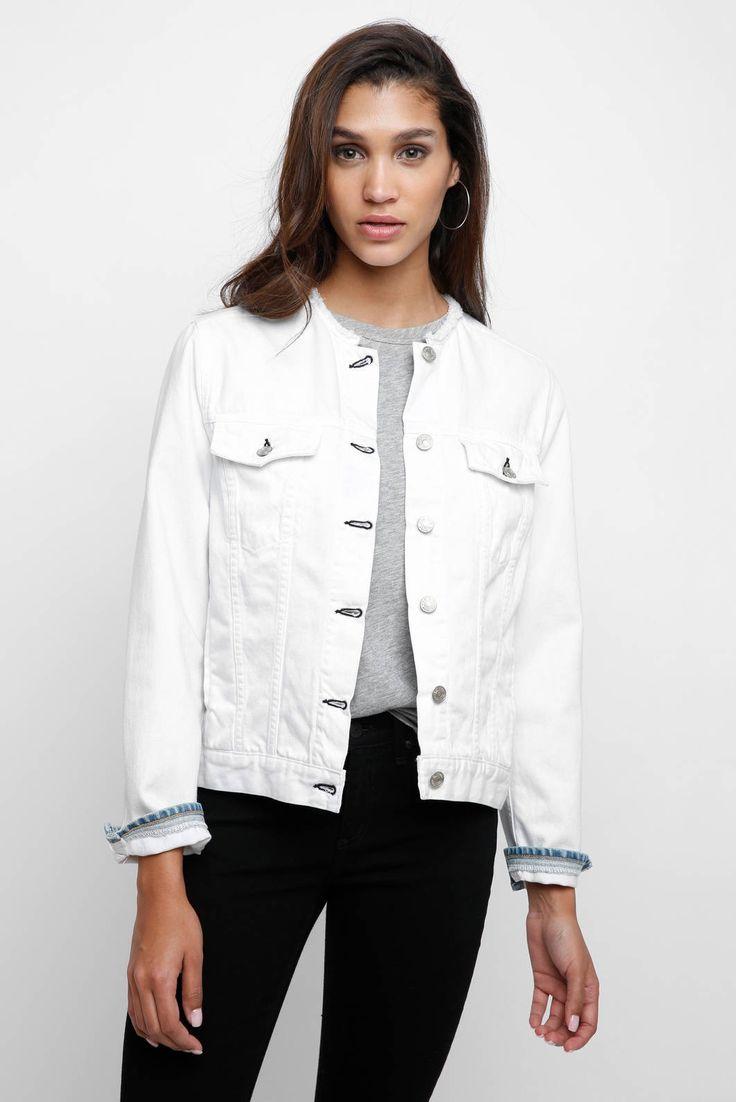 Rag & Bone Collarless White Denim Jacket   South Moon Under