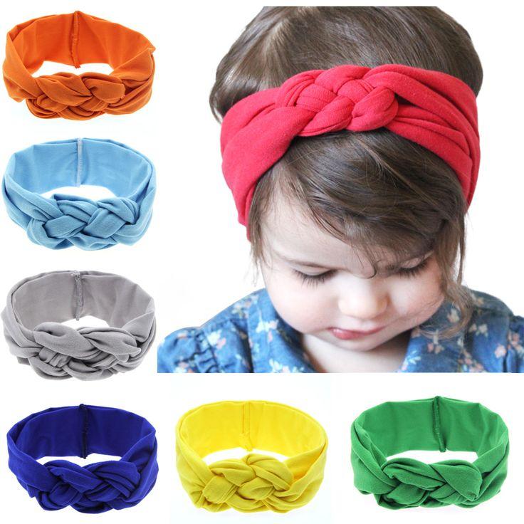 Bebé recién nacido Diadema Elasticidad Hairbands Vendas Del Pelo Del Nudo de Color Sólido 100% Del Algodón Del Bebé Niñas Accesorios para el Cabello Diadema Para Las Niñas