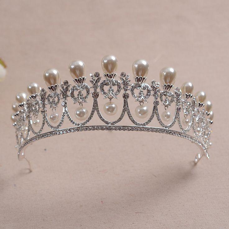 Korean simulated pearl crystal bridal crowns princess tiaras wedding hair accessories wholesale