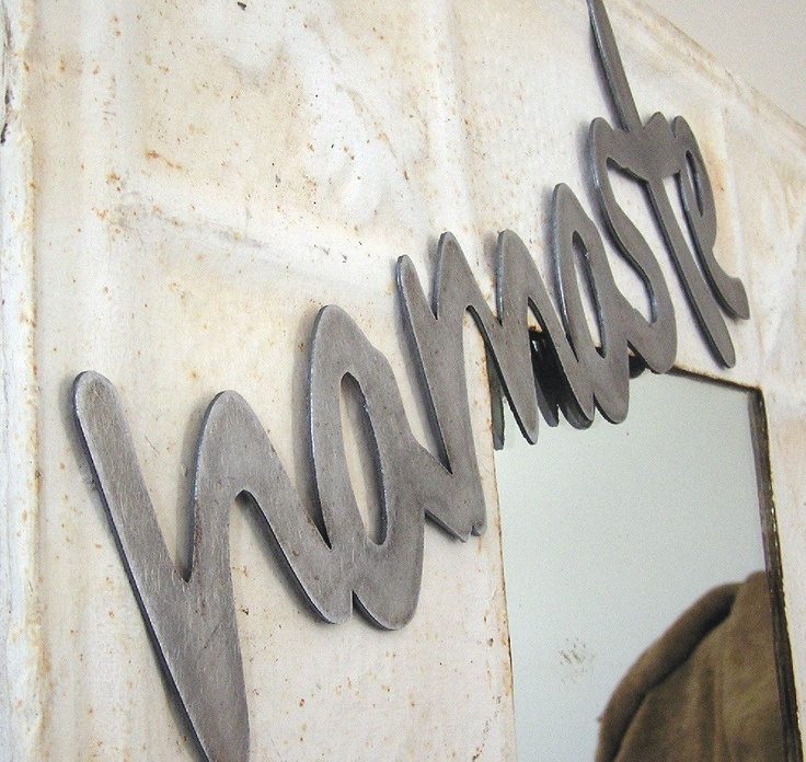 namaste metal word, wall decor, other words & colours available. $20.00, via Etsy.