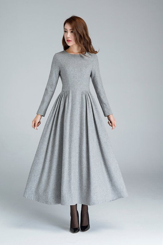 wool dress pleated dress grey dress long dress winter by xiaolizi