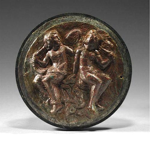 HELLENISTIC BRONZE CIRCULAR MIRROR : EROS AND PSYCHE | 3rd Century BC