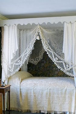 My canopy is just like this in our Master bedroom would love find the lace curtain