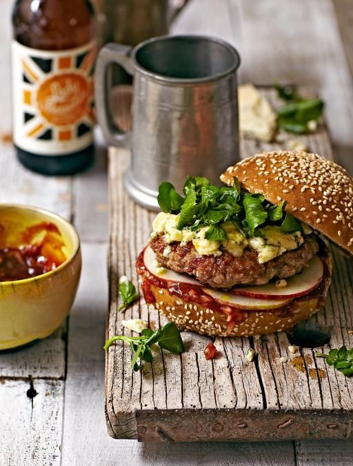 Wild boar burgers - Stunning with melted blue cheese and apple