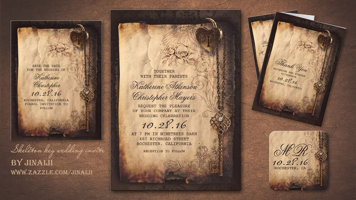 Old antique wedding invitation with skeleton key, vintage roses and heart lock. Love is the key to happiness, joy and peace in our lives. Perfect vintage style charming wedding invitation for rusti...