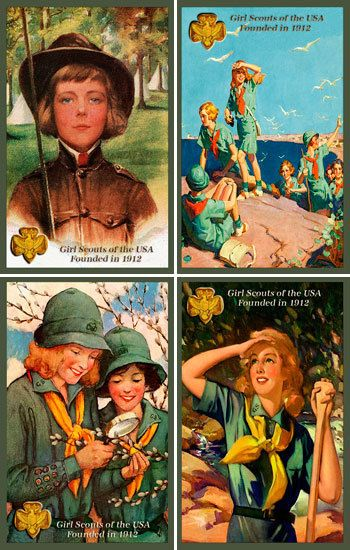 Girl Scouts Set Quilt Blocks. Printed on cotton for quilters. Ready to sew.  Single 4x6 block $4.95. Set of 4 blocks with pattern $17.95.