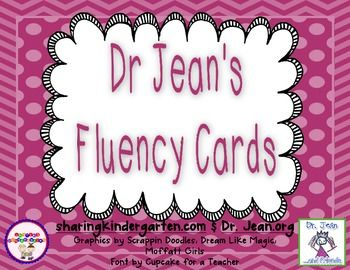 FREE fluency cards from Dr. Jean! New and at Dr. Jean's NEW TpT store!!