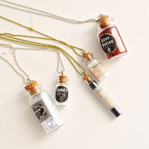 DIY Mini Apothecary Jar Necklaces - I want one that is a message in a bottle. A love note perhaps.