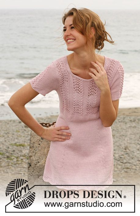 "Free pattern: Knitted DROPS dress with lace pattern in ""Muskat"". Size: S - XXXL."