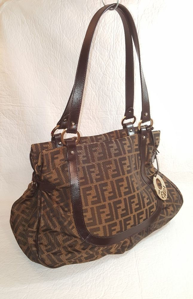 3b57af96e67 1234 97b0b f6dc8 real fendi zucca large signature brown jacquard and  leather shoulder handbag tote purses fashion 49509 a70b5 ...