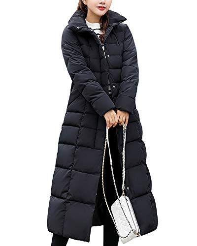 Femme Doudoune Manteau Longue Hiver Chaud Blouson À Capuche Épaissir Veste  Matelassée Parka Slim Fit Noir 416f561638c