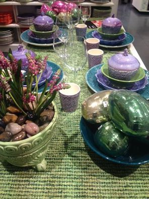 Colorful Easter tablesetting at Åhlens city in Stockholm!